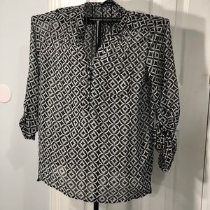 LipSlide Sheer Pleated Neckline Blouse Size large